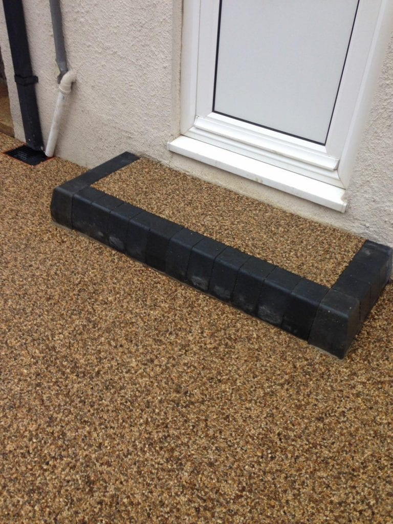 front doorstep in resin stone